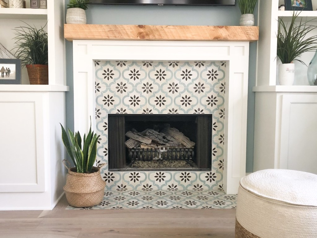 before after photo fireplace renovation