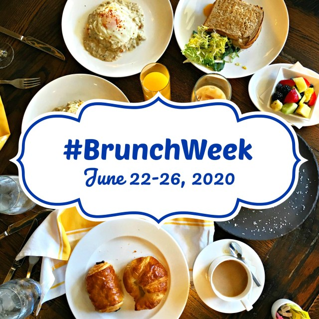 "Text reading ""#BrunchWeek June 22-26,200"" on a white background. Behind it is a table set for breakfast with coffee, fruit, and pastries."