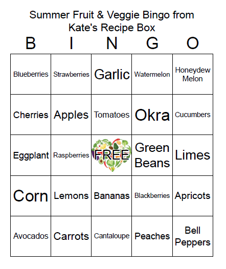 A sample bingo card. A grid of 5 x 5 boxes. Each space features a different item of summer produce. The middle square is a free space.