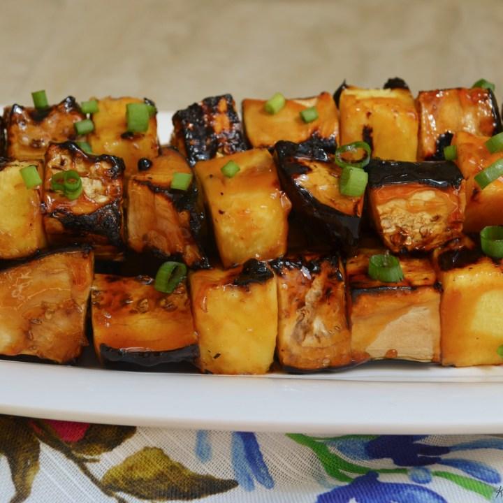 Vegan Teriyaki Eggplant and Pineapple Skewers