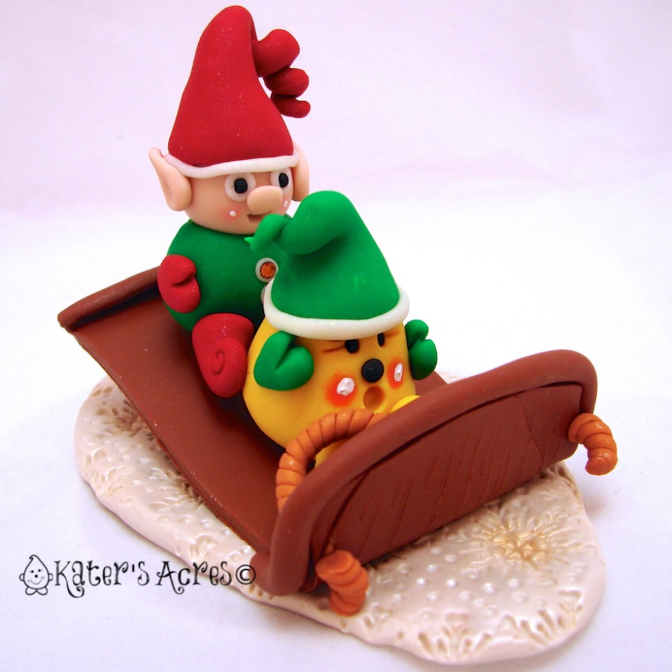 Parker with Santa Elf on Sled PREVIEW for Figurine 11 in the Twelve Days of Christmas