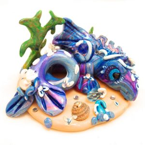 Droplet the Water Dragon - Handmade from Polymer Clay by KatersAcres https://katersacres.com