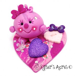 Valentine's Day Lolly Polymer Clay Collectible StoryBook Scene https://katersacres.com