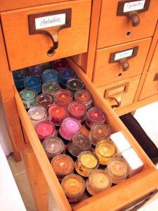 KatersAcres Polymer Clay Studio - Library Card Catalog - Mica Powders Storage