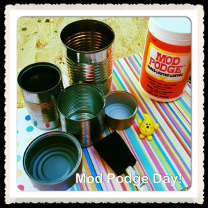 KatersAcres Polymer Clay Studio - Homemade Storage Ideas with Mod Podge & Cans