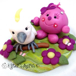 Lolly with Cockatoo StoryBook Scene by KatersAcres | Handmade Polymer Clay Figurine