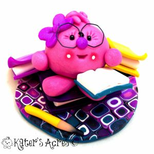 Lolly Reads a Book Polymer Clay Hobby Figurine - Handmade StoryBook Scene by KatersAcres
