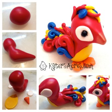 Polymer Clay Parrot Tutorial Steps by KatersAcres