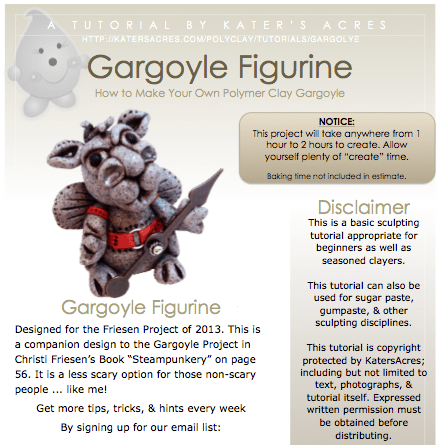 Polymer Clay Gargoyle Tutorial - Instant Download PDF by KatersAcres | Perfect for cake decorators & crafters of all skill levels