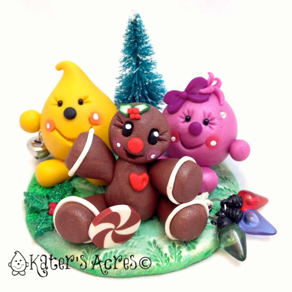 Christmas Gingerbread Man Parker & Lolly Figurine - StoryBook Scene Polymer Clay Sculpture by KatersAcres