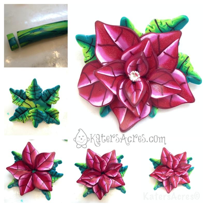 Clay Flowers Tutorials: Polymer Clay Poinsettia Tutorial: Part 3