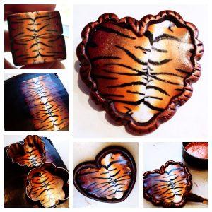 Tiger Print Heart Brooch Tutorial by KatersAcres