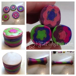 Polymer Clay Millefiori Tutorial: Doodle Color Changing Flower Cane by KatersAcres   Get the tutorial & sign up for FREE tutorials