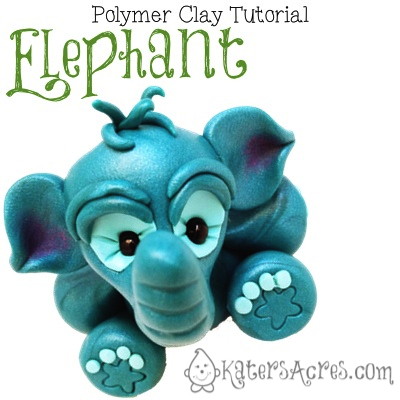 Polymer Clay Elephant Tutorial by KatersAcres | March 2014 Parker's Clayful Tutorials Subscription