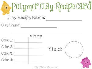 FREE Polymer Clay Recipe Card by KatersAcres | FREE Printable Blank Clay Recipe Cards
