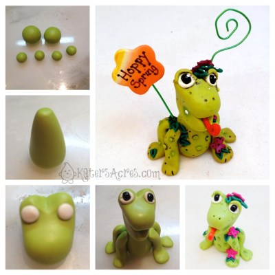 Whimsical Polymer Clay Frog Photo Holder | Get FREE tutorials in your email by joining the email list