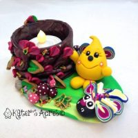 Parker Bug Tea Light StoryBook Scene by KatersAcres   Handmade with polymer clay & millefiori canes
