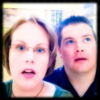 Katie & Luke Oskin being scare by dinosaurs...
