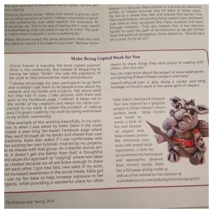 Kater's Acres & Gus the Gargoyle mentioned in The Polymer Arts Spring 2014 Issue