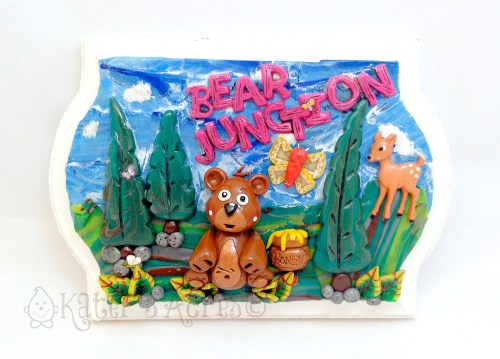 """Bear Junction"" Polymer Clay Wall Hanging on Wood by KatersAcres 