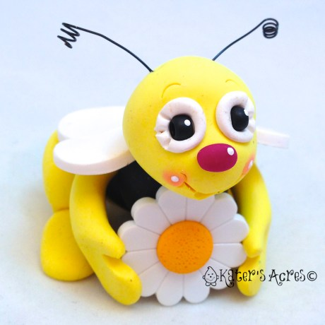 Polymer Clay Bumble Bee Figurine by KatersAcres