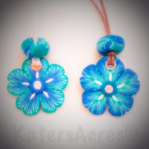 One Skinner Blend, Two Petal Canes Necklaces by KatersAcres