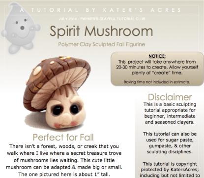 Spirit Mushroom Polymer Clay Tutorial by KatersAcres   Tutorial for Parker's Clayful Tutorials Club Members