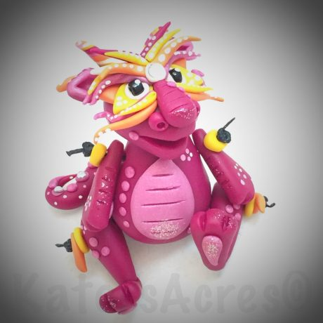 Polymer Clay Jointed Chinese Inspired Dragon by KatersAcres