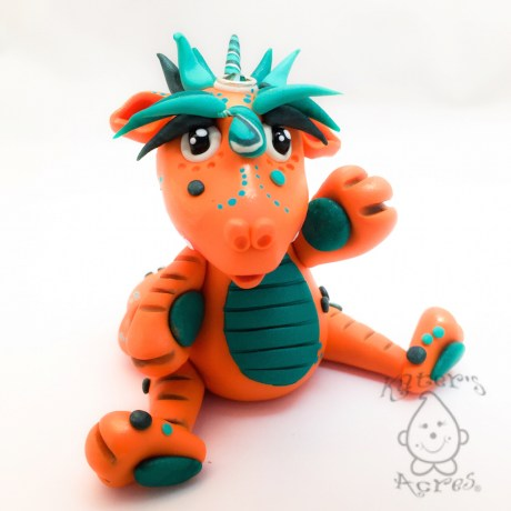 Julius, Polymer Clay Collectible Dragon   Handmade in USA by KatersAcres