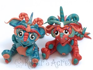FrostFire & FireFrost, Polymer Clay Collectible Dragon | Handmade in USA by KatersAcres