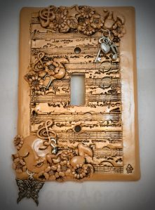 Polymer Clay Music Themed LightSwitch Cover by KatersAcres
