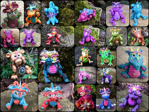 Polymer Clay Dragons Made by Katie Oskin (KatersAcres) for the #2015PCChallenge | Weeks 1-15 total of 24 different dragons