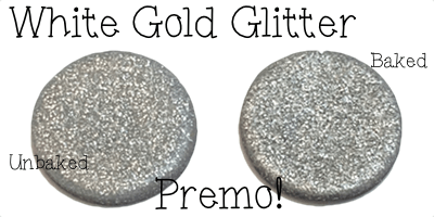 2015 Polyform Color Review - Premo Sculpey Polymer Clay in White Gold Glitter by Polyform