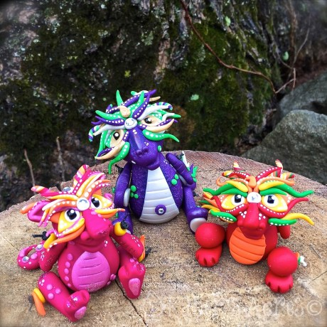 Polymer Clay Chinese Dragons by Katie Oksin
