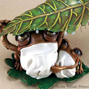 "Melissa Terlizzi ""Until the Storm Passes"" Frog Sculpture"