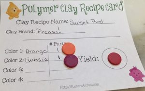 Polymer Clay Color Recipe SUNSET RED Recipe Card by KatersAcres