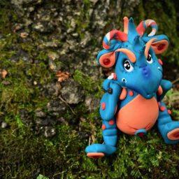 Handmade polymer clay dragon, Bleu by KatersAcres
