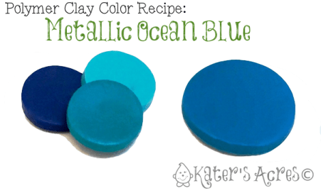 Polymer Clay Color Recipe Metallic Ocean Blue by KatersAcres