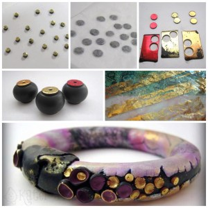Top 5 Polymer Clay Surface Treatments with Debbie Crothers --- FOILS | CLICK to see 5 awesome surface design techniques for polymer clay