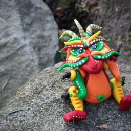 Polymer Clay Dragon FIESTA by Katie Oskin of KatersAcres