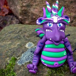 "Polymer Clay Dragon ""Grapette"" by Katie Oskin of KatersAcres, Ready for Adoption on Etsy"