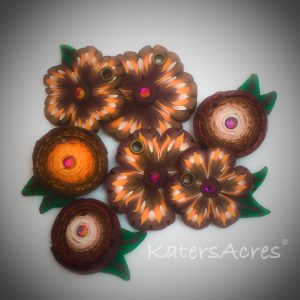 Handmade Polymer Clay Flowers from the Fall Polymer Clay Tutorial, Festive Masor Jar Centerpiece using Millefiori Canes | October #PavelkaProject