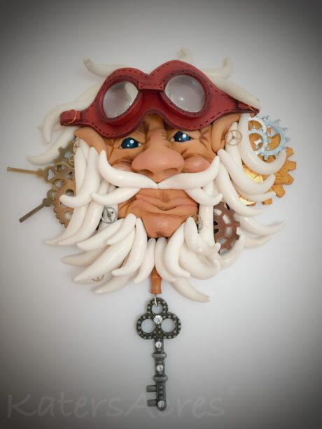 """Wall Decor Piece """"Father Time"""" by Katie Oskin of KatersAcres   Handmade from Polymer Clay and Mixed Media Elements"""