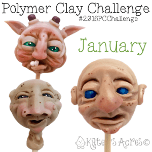 January Polymer Clay Fantasy FACES by Katie Oskin of KatersAcres
