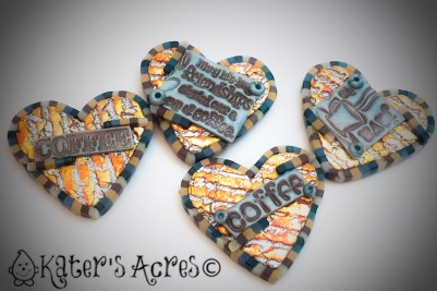 Coffee Themed Refrigerator Magnets for the January 2016 Polymer Clay Adventure Swap by KatersAcres