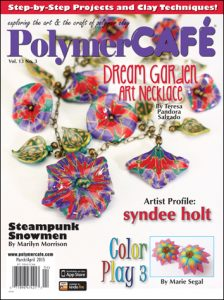 March 2015 Polymer Clay Cafe Magazine Cover with Teresa Pandora Salgado