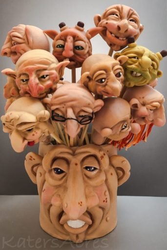 Polymer Clay Face Vase by KatersAcres