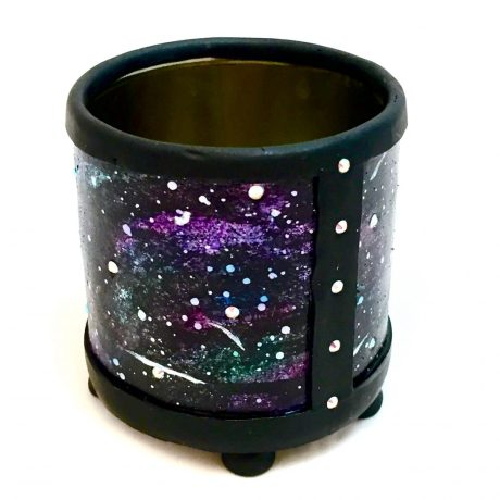 Polymer Clay Galaxy Face Vase Project by KatersAcres