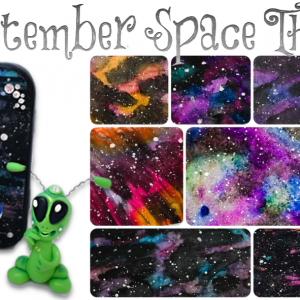 September SPACE Theme at KatersAcres   Learn polymer clay & mixed media techniques - PIN NOW, Click Later