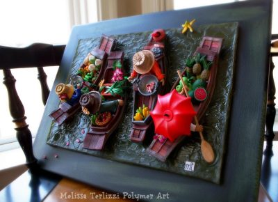 "Melissa Terlizzi, ""Floating Market"" in Polymer Clay & Resin, Mounted on Canvas"